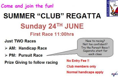Summer Club Regatta Sunday 24th June