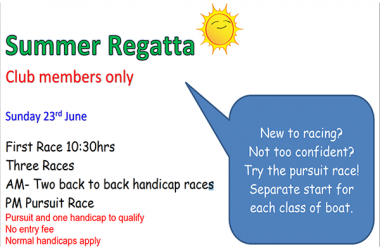 Summer Club Regatta Sunday 24th june 2019