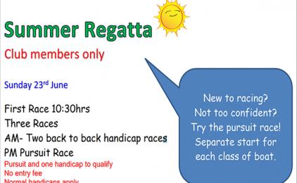 Summer Club Regatta Sunday 24th june 2019